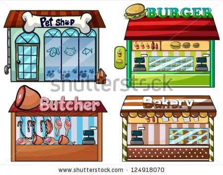 Illustration of a petshop, burger stand, butcher shop, and bakery on white background. by Matthew Cole, via Shutterstock