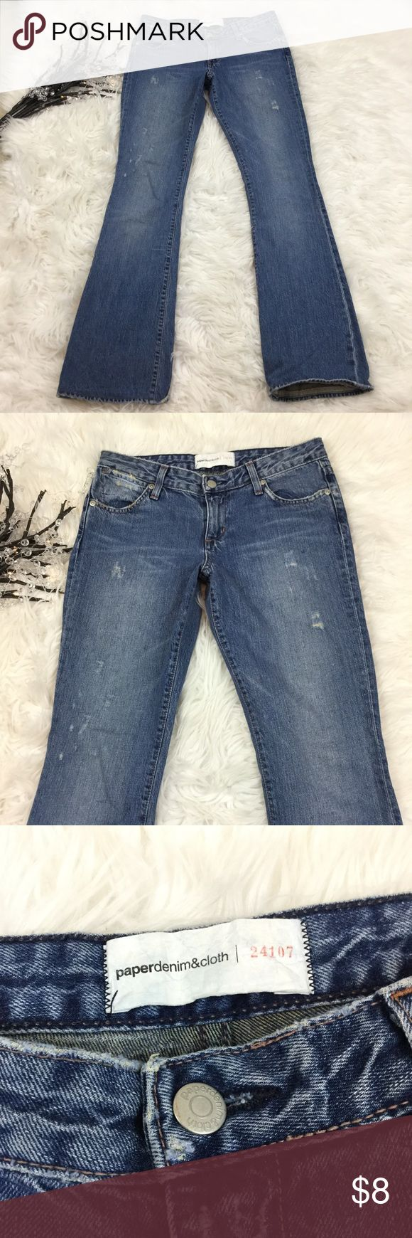 """PAPER DENIM & CLOTH DISTRESS HARLEY BOOT CUT JEANS See my other cute items**  size 26,  100% cotton, distressing in front, a couple bleach distressed areas in back, these have been shortened (see pic of hem), inseam 31.5"""". Paper Denim & Cloth Jeans Boot Cut"""