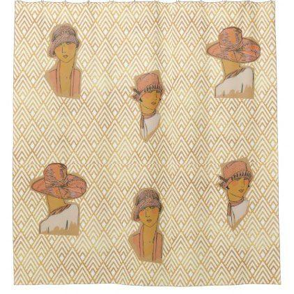 Golden Era of Flapper Fashion Plate Shower Curtain - gold gifts golden customize diy