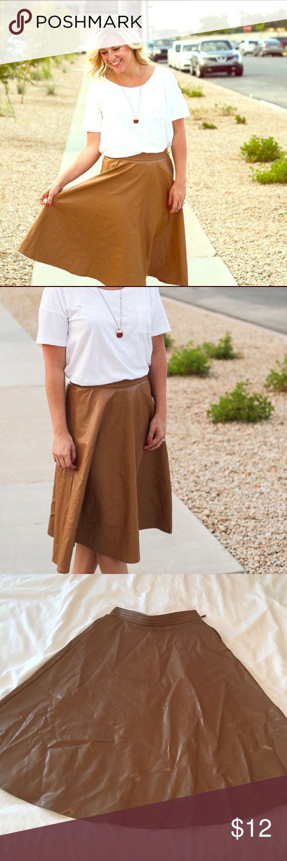 Faux Leather A Line Skirt Size XS Faux Leather a-line skirt. Needs a good steaming, but worn only two times (once for photos). Skirts A-Line or Full