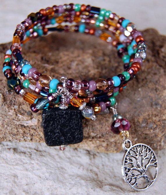 Tree of Life Earth Tone Memory Wire Bracelet by SilverChaseDesigns, $25.00