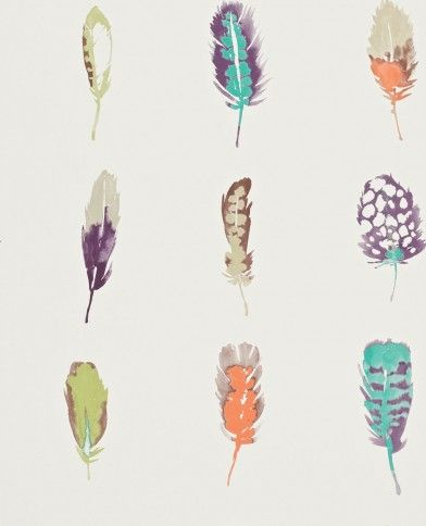 Limosa (111073) - Harlequin Wallpapers - A fashionable motif depicting finely-drawn feathers in an array of delicious colours. Shown here in purple, orange and blue on a white background. Other colour ways available. Paste the wall product. Please request a sample for true colour match.