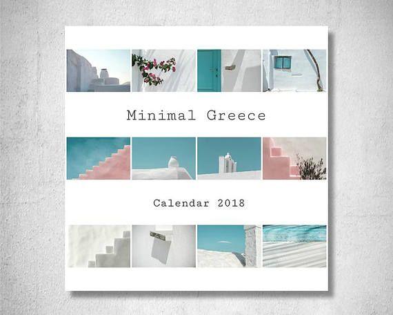 PRINTABLE Calendar 2018 Calendar 2018 Digital Minimal Greece