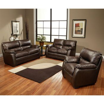 Brentwood 3 piece leather set costco new home garage pinterest leather family rooms for Costco leather living room furniture