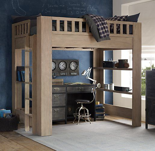 This is the loft bed we built for Alexander; but twin size. Restoration Hardware Callum Full Loft Bed