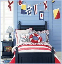 Nodical Nautical Bedding features a fresh red and white striped quilt, nautical printed sheets and clever throw pillows. Our nautitomically correct Life Preserver and Telegraph printed throw pillows make the set fun and interactive for kids. Seaside Bedding, Nautical Themed Bedding, Boy's Sailing Bedding - Bedding with nautical themes. Decorate bedroom with nautical bedroom decor.  Send a signal with our Nodical Nautical Flag Banners. All flags feature nautitomically correct designs