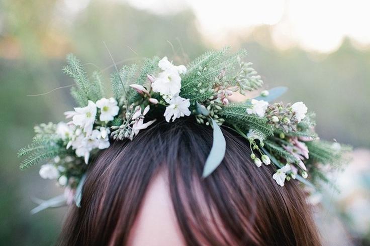 Moustakas flowers-Wedding tiara with eucalyptus and genista #weddinghairpieces #weddingtiara #flowershairpieces