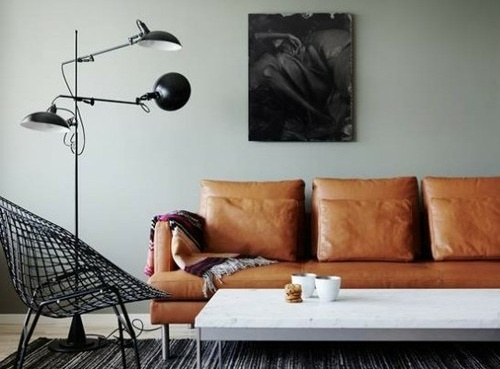 annedal 3: Lamps, Wall Colour, Living Rooms, Leather Couch, Color, Interiors, Grey Wall, Tans Leather Sofas, Gray Wall