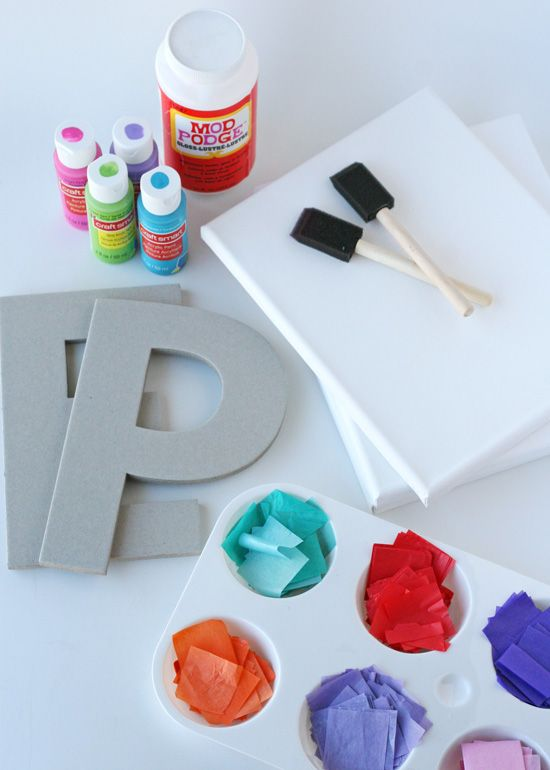 Personalized Mosaic Craft for Kids.Instead of collage background canvas with painted initial on top, collage/decorate just the initial. Magnet on back or hang as is...
