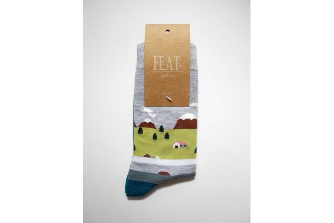 Ladies' grey lake house sock by FEAT. sock co.