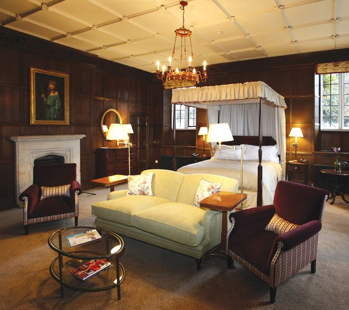 The open plan bedroom and lounge area is fully panelled in oak, with an original ornamental plaster ceiling and a 16th Century stone fireplace. A door from the master suite leads into The Library, enabling guests staying in the Arkle Suite to entertain up to 12 people in private. If private dining is requested, Head Chef David Kelman will be pleased to develop speciality menus to meet individual requirements. http://www.ellenboroughpark.com/accommodation/arkle-suite.html