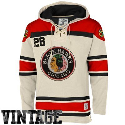 Ole Time Hockey Chicago Blackhawks Lace Jersey Team Hoodie - White ... 7b0aa617707