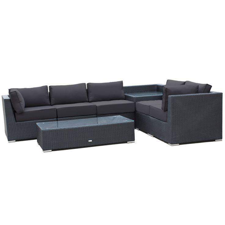 Buy Luxo Maho 7 Piece Modular Outdoor Sofa Set (Black) Online Australia