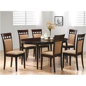 mix and match oval dining room set with upholstered back chairs cappuccino coaster furniture - Cheap Dining Room Sets