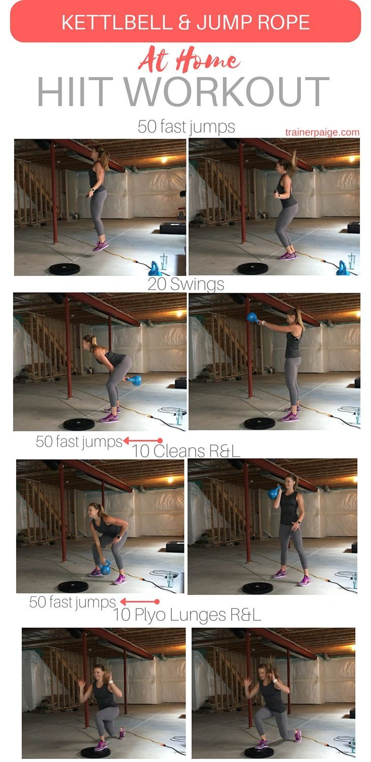 At-Home Kettlebell and Jump Rope HIIT Workout --- great workout for when you're pressed for time, and want to get a good sweat on!