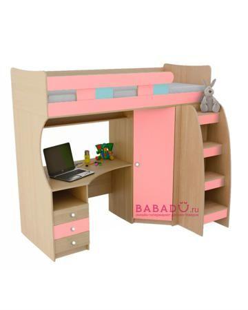 UFOkids 80x200 см с рабочим местом и шкафом Эльфи  — 27610р. --- Кровать-чердак 80x200 см с рабочим местом и шкафом Эльфи UFOkids для комнаты дошкольника и школьника. Ложе находится наверху, под ним расположен стол и шкаф.