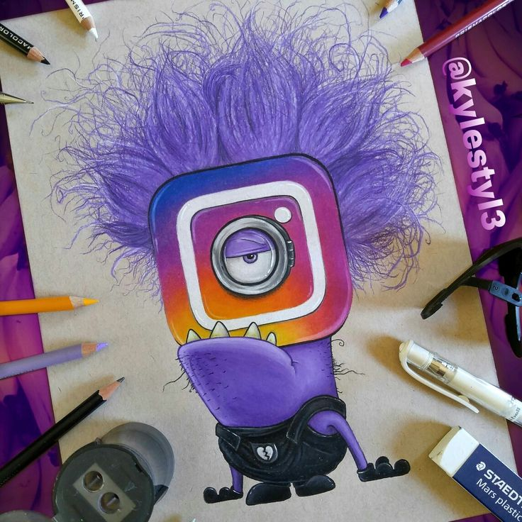 New Instagram Logo and Evil Minion Social Media Mash Up Drawing