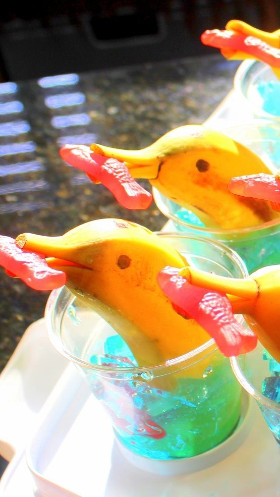 Banana Dolphins in Jell-O - 52 Snacks for Children's Church... One of our most popular snack ideas for a kids party (or for our weekly contribution to our children's worship hour. EASY to MAKE, FUN, DELICIOUS and even mostly nutritious!