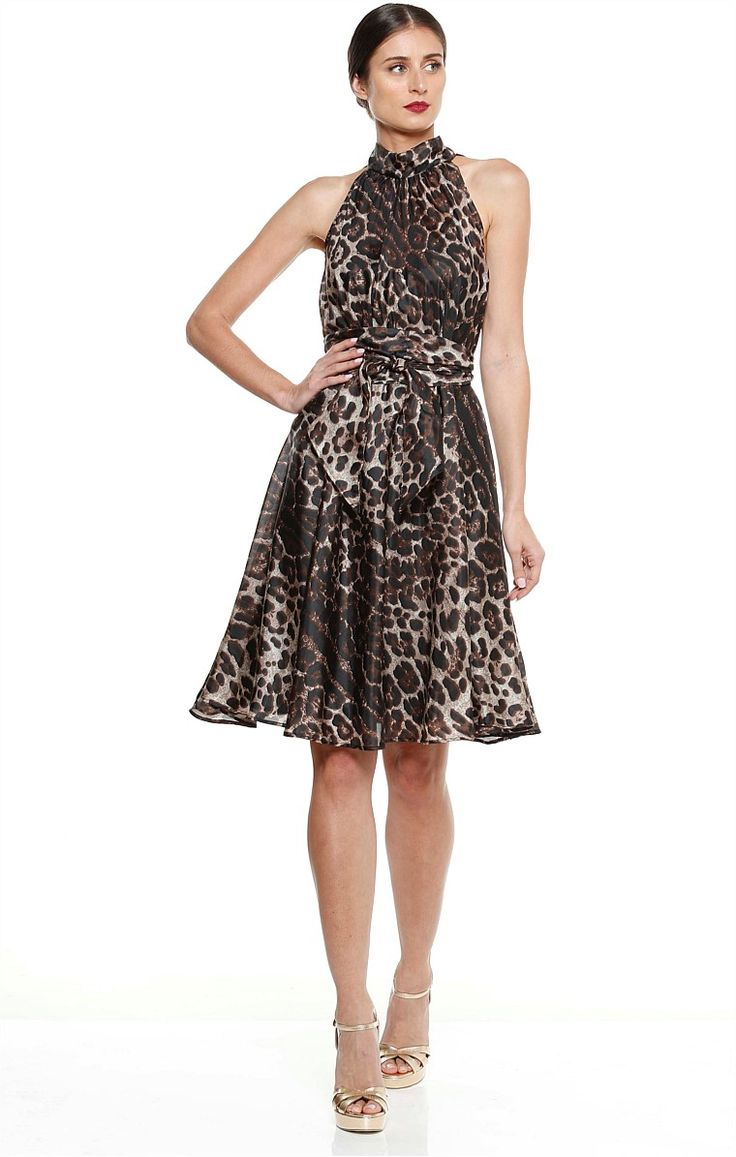 BRIGITTA KNEE LENGTH SILK A-LINE HIGH NECK DRESS IN LEOPARD PRINT