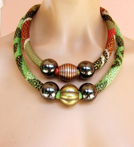 African Statement necklace /Chunky African necklace / by nad205