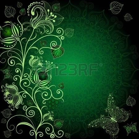 Dark green floral frame with flowers and butterflies  photo