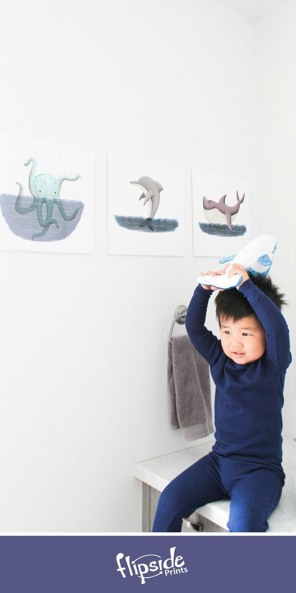 Flipside Prints | Adorable blue underwater themed wall art for kids bathroom, boys bedroom, playroom or nursery