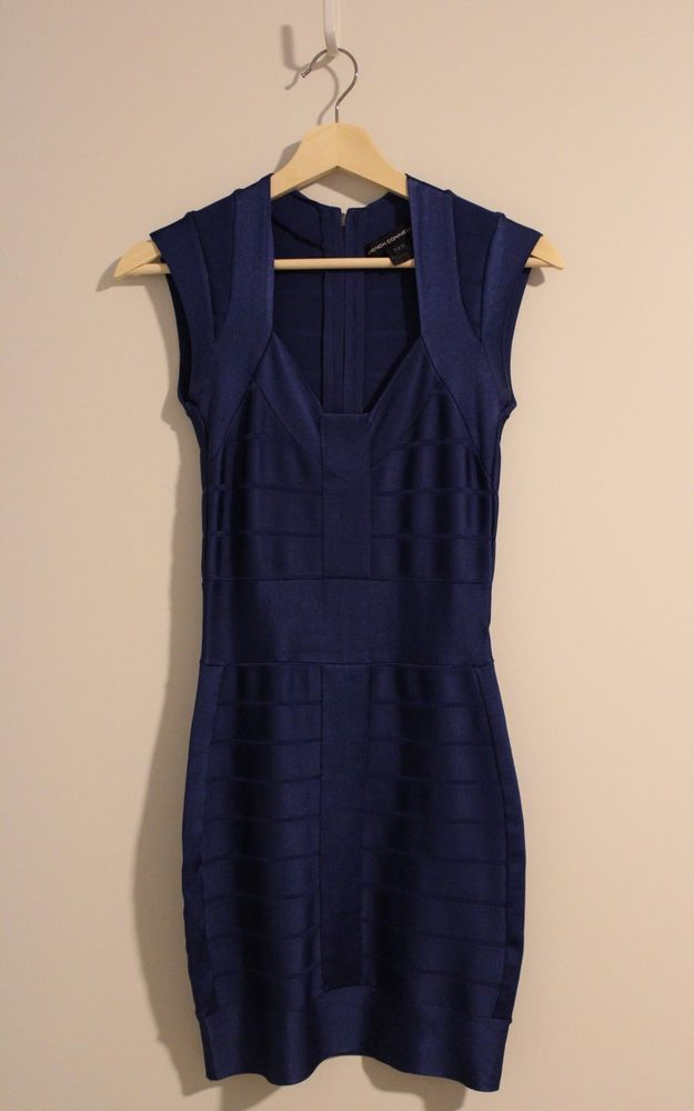 Womens Blue French Connection Bandage Sexy Mini Dress Size 0 BROAD CITY DRESS #FcukFrenchConnection #Sexy