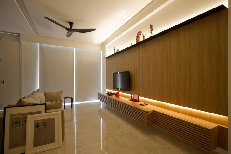 integrated entertainment console at living room