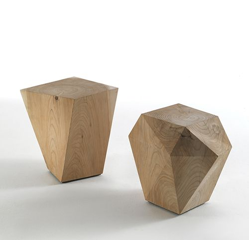 Side Table Collection In Solid Cedar Wood, Available In Two Geometric  Designs. #sidetable