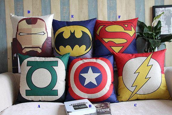 Avengers, superhero, Batman, Superman, American Captain, Iron Man, Spiderman,throw pillow cushion ,cushion cover, spiderman pillow    OMG this is hilarious. But I want one.