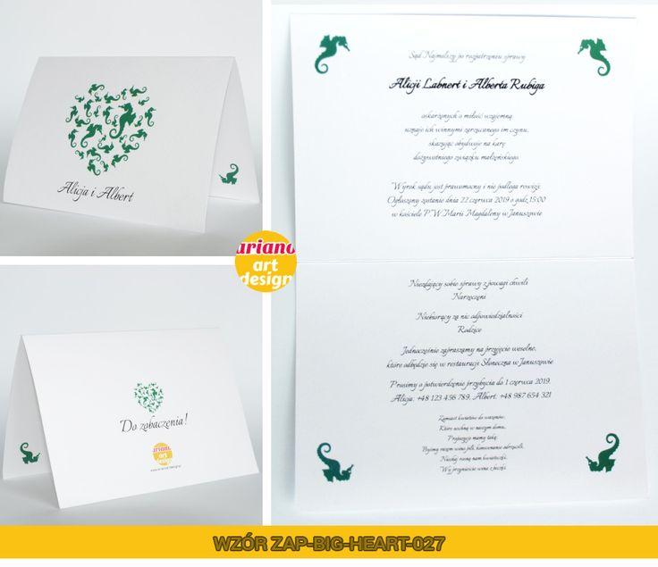 Zaproszenia na ślub duże serce konik morski koniki morskie