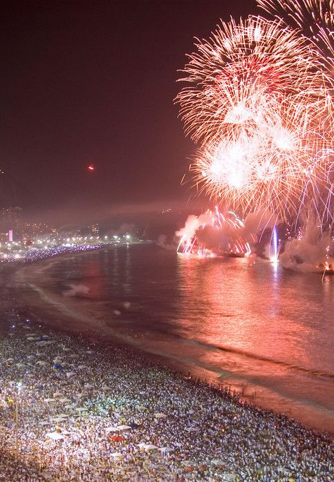 Approximately two million revelers turn up at Rio's Copacabana Beach for live music, champagne, and a 20-minute-long fireworks show. It's considered the world's largest New Year's Eve party.