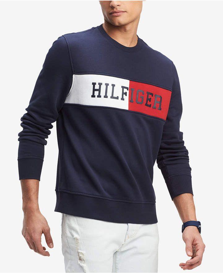 Tommy Hilfiger Men S Logo Sweatshirt Created For Macy S Mens Sweatshirts Tommy Hilfiger Sweatshirt Tommy Hilfiger Man