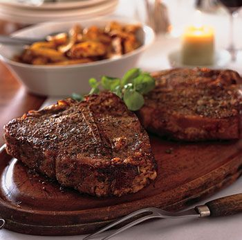Spice-Roasted Porterhouse Steaks  All that these steaks need is about 30 minutes in a very hot oven: no browning, no sauce, no fuss. Improv: Try the same seasonings on two whole chickens, a pork roast, or three racks of lamb