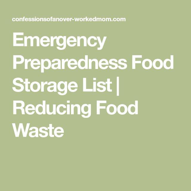 Emergency Preparedness Food Storage List | Reducing Food Waste