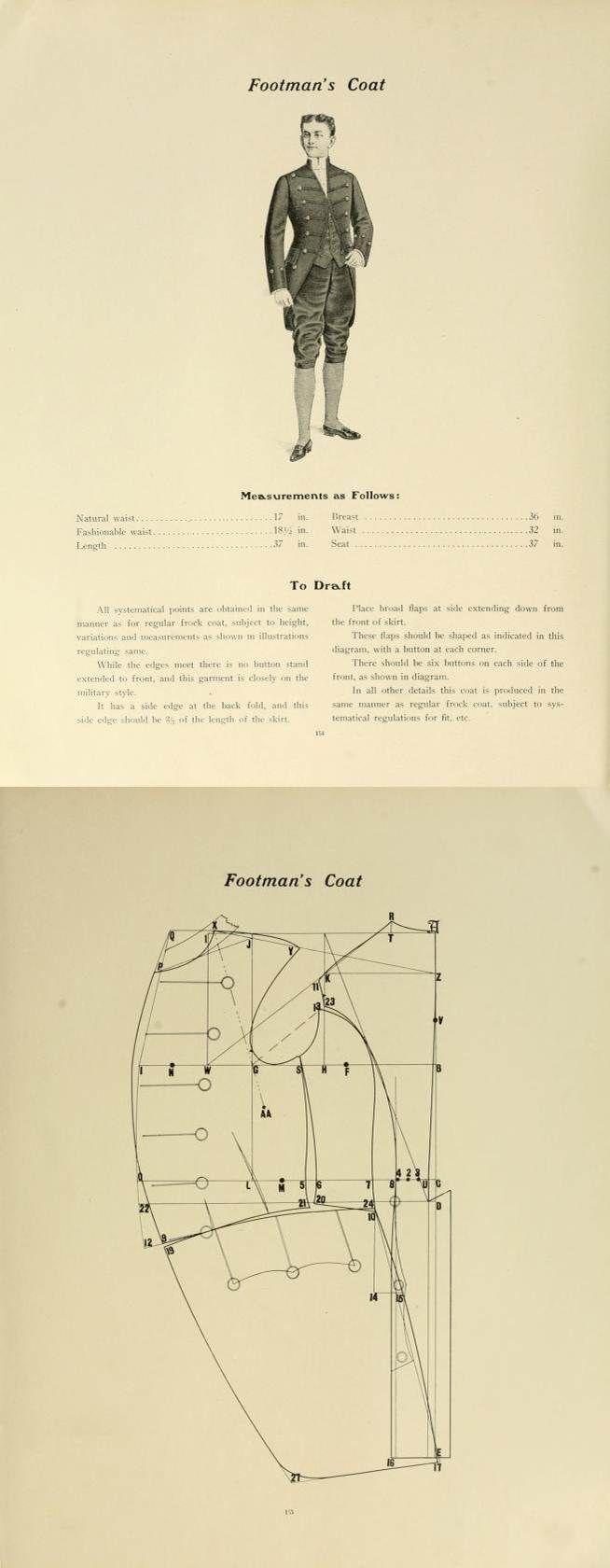 1907 footman's coat pattern