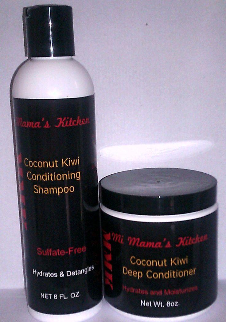 """Mi Mama's Kitchen......""""WE HAVE YOUR HAIR IN MIND!""""   Conditioner and Shampoo 8oz. $9.00 each   *Coconut Kiwi Conditioning Shampoo and Coconut Kiwi Deep Conditioner  Send orders to mimamaskitchen@gmail.com  Traducción al español:   Cocina de Mi Mamá ...... """"TENEMOS TU PELO EN MENTE!""""   Acondicionador y 8 oz Shampoo. $ 9.00 cada uno   * Coconut Kiwi acondicionado Shampoo y Acondicionador Profundo Kiwi Coconut   Enviar órdenes a mimamaskitchen@gmail.com"""