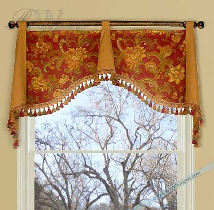 Simple & elegant valance. I like the combination of the 2 fabrics & the tassel trim.