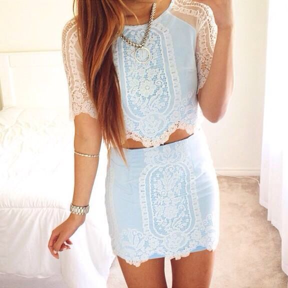 Mint and lace crop top and skirt