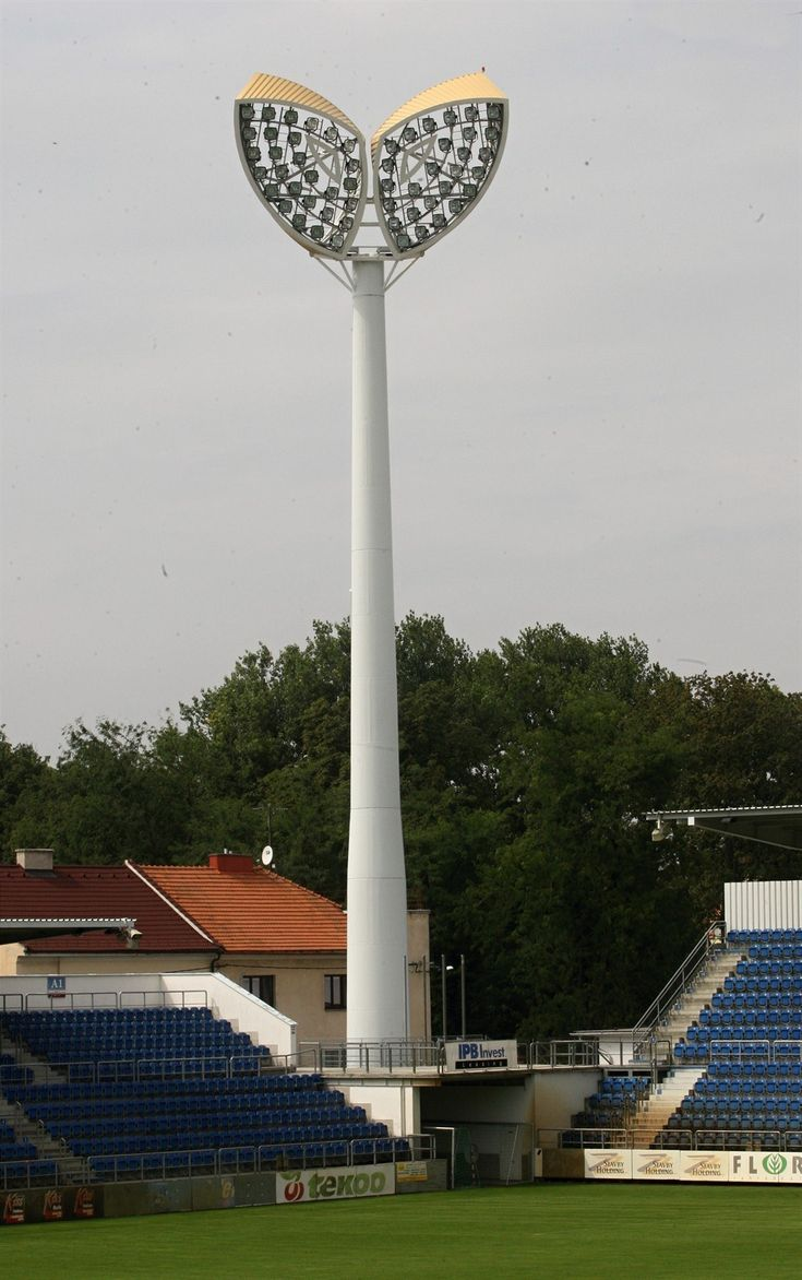 "Known as ""the owl's eyes"" or ""the Slovácko [Moravian Slovakia] hearts"", these unusual floodlights watch over the Městský fotbalový stadion in Uherské Hradiště -- home to 1. FC Slovácko. This shot, by Dalibor Glück, is part of an iDnes.cz photo essay on the stadium."