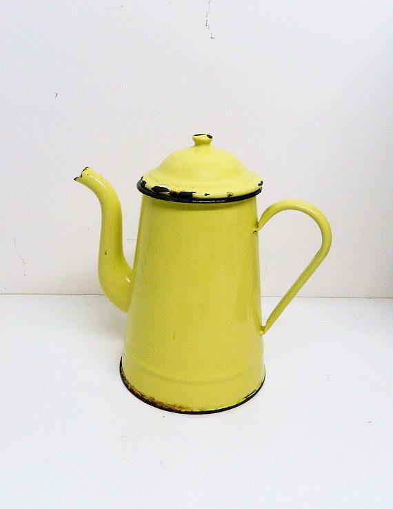 Vintage French coffee pot Original 1950's yellow enamel