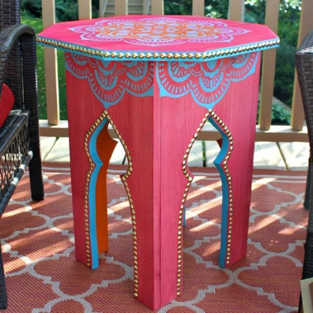 Moroccan Side Table Diy Turn A Few Pieces Of Lumber Into A Beautiful Moroccan I Diy Side Table Moroccan Decor Diy Moroccan Side Table