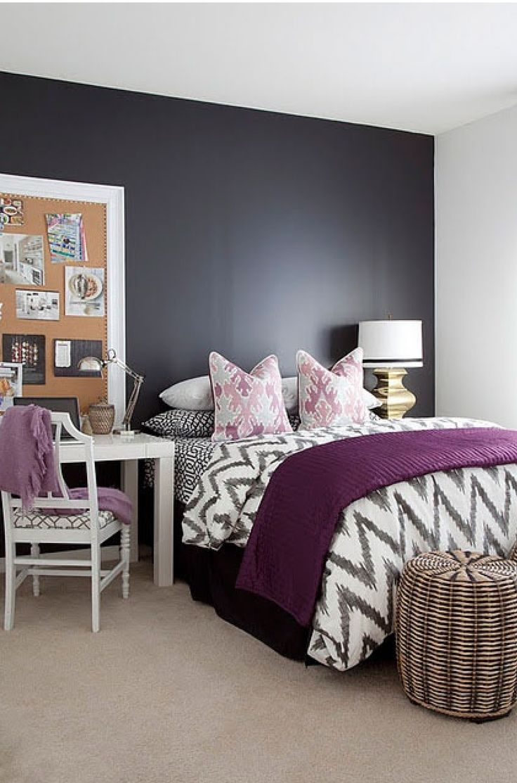 my future bedroom let s do thissss pinterest 10723 | 14e29e4982e5bd327d935e05687105d1 parsons desk purple accents