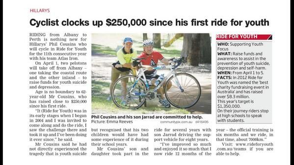Huge thanks and congratulations to Phil Cousins, who has raised nearly $250,000 since his first #hawaiianrideforyouth in 2004. #youthfocus #perth #albany #mentalhealth Image and picture thanks to the Community News Group.