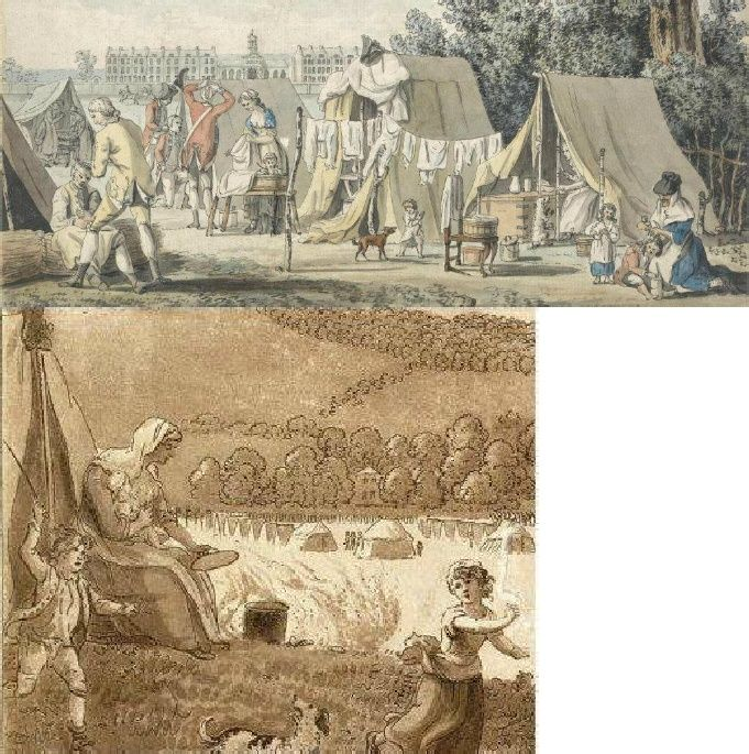 """The Encampment on Blackheath,"" 1780, Paul Sandby  ""A Military Encampment in Hyde Park"", 1785, James Malton (Yale Center for British Art"