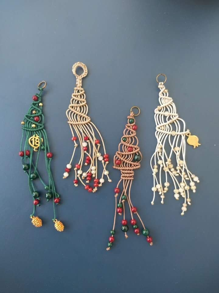 Macrame Christmas trees, lucky charms 2018, necklaces