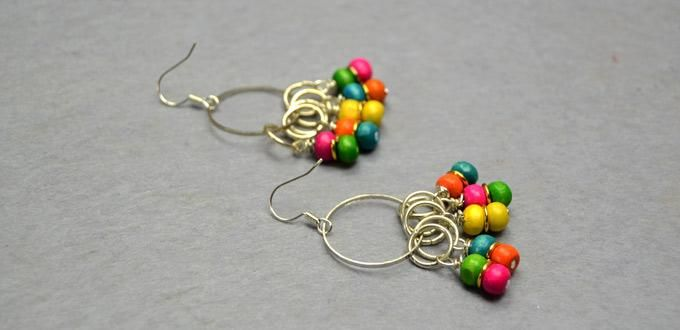 DIY - How to Make Rainbow Loom Earrings with Multi-Colored Wood Beads and Golden Jump Rings