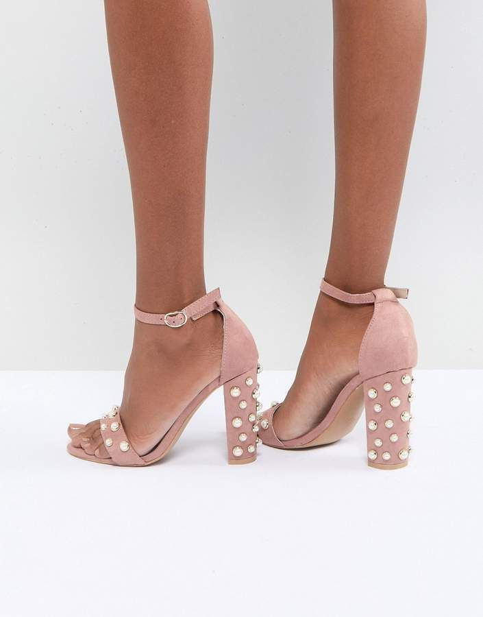 31454a2ec79 Glamorous.Womans Occasion Prom Blush Pink Block Heeled Sandals With Pearl  Embellishment