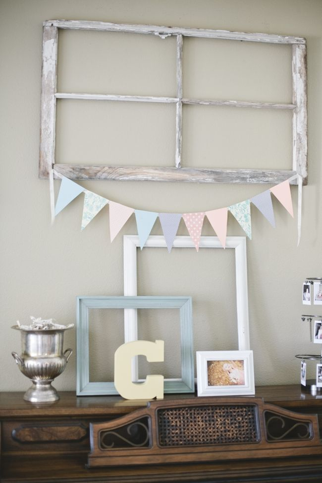 Old window + bunting + frames