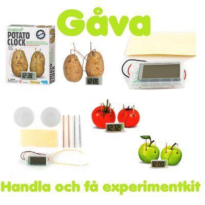 Två potatisar, zink- och kopparremsor, tejp